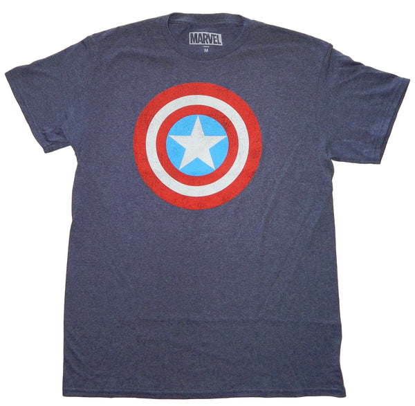Marvel Captain America Shield Logo Men's Navy Heather T-Shirt Avengers Endgame