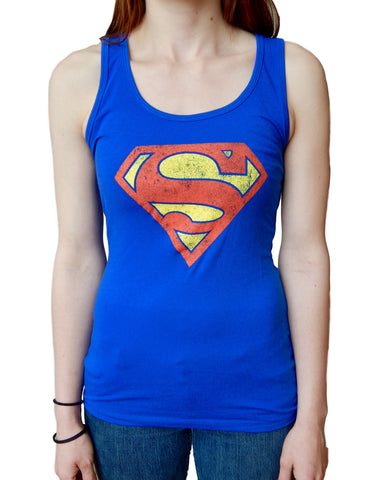 Superman Super Classic Distressed Logo Juniors Tank Top