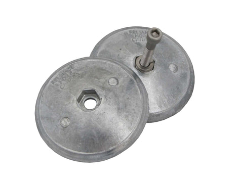Twin Disc Rudder, Trim Tab Anode, 72mm dia in zinc