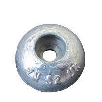 Round zinc anode for a boat hull, rudder or trim tab