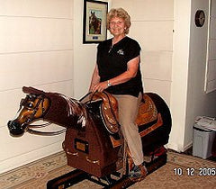Beverley Manners aboard her Equicizer she named Mate