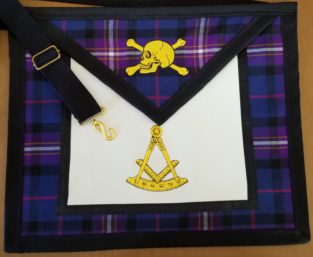 Widow's Son Apron with Freemason's Universal Tartan Vinyl Backed  - Skull & Cross bones only available in Black & yellow thread colors.