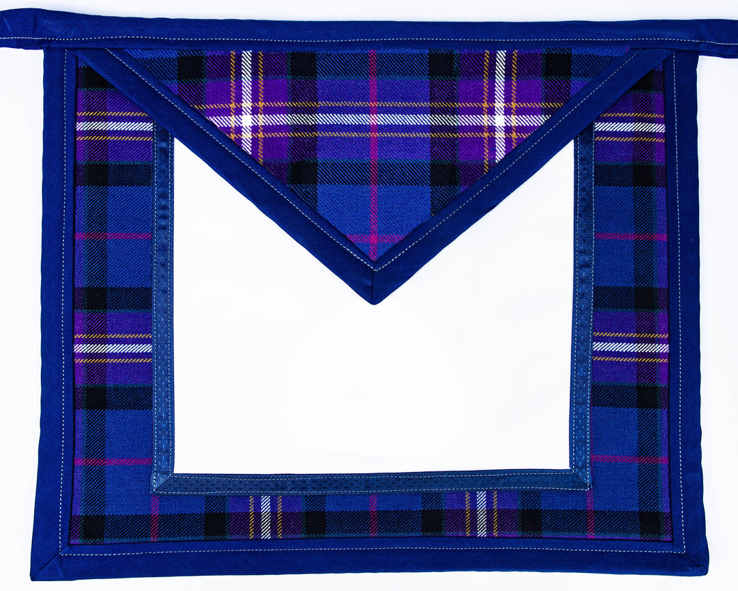 Freemason's Universal Tartan Apron Leather Backed - Narrow Tartan Border You choose an emblem for both the field & flap on next page.