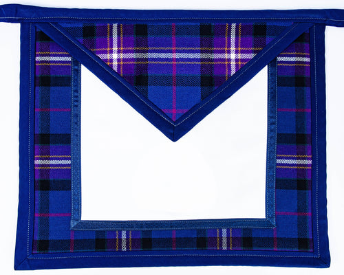 Freemason's Universal Tartan Apron Vinal Backed Apron - Narrow Tartan Border. You choose an emblem for both the field & the bib, or flap on next page.