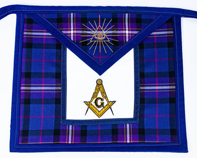 Pre-Made Vinyl Backed Tartan Apron with MM and Triangle all-seeing eye logos