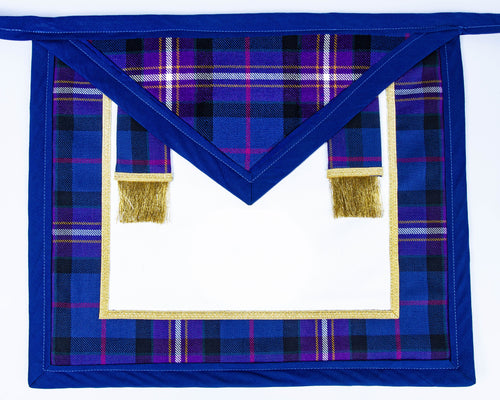 Freemason's Universal Tartan Apron Leather Backed - Narrow Tartan Border with Side Tabs. You choose an emblem for both the field & flap on next page.