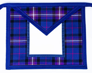 Freemason's Universal Tartan Apron Leather Backed - Wide Tartan Border. You choose an emblem for both the field & flap on next page.