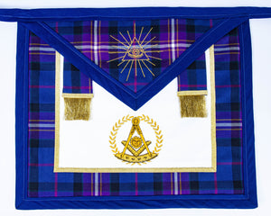 Pre-Made Leather Backed Tartan Apron with Past Master and Triangle All-seeing eye logos with Side Tabs
