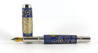Fitz Fountain pen in Blue with Watch Parts