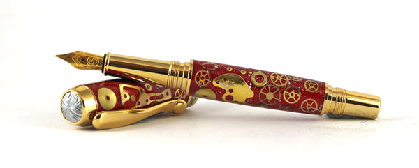 Gilbert  Fountain pen in Red with Watch Parts