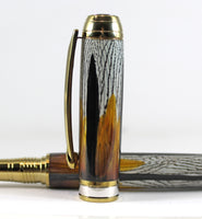 Queens Fountain Pen in Golden Pheasant Feathers