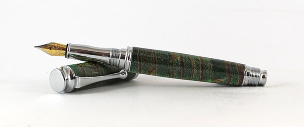 Trinity in Green dyed X cut Zebrano in Chrome
