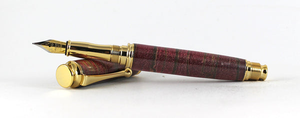 Trinity in Red dyed X cut Zebrano in Gold