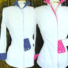 Classic White ladies Dress Shirt with Gingham Trim