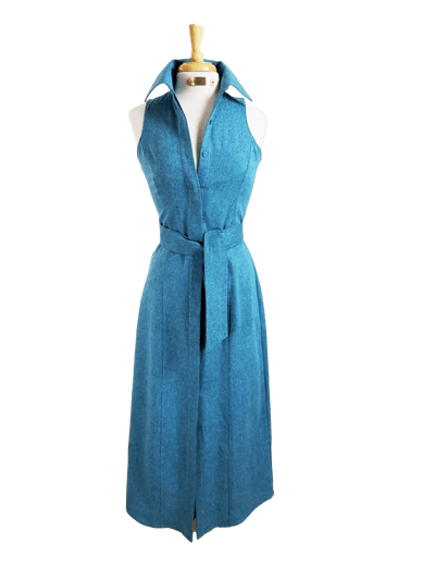 CANYON LINEN DRESS IN TURQUOISE