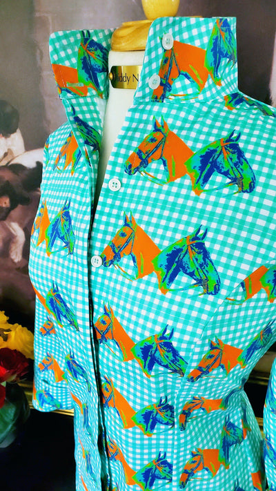 HORSE COUNTRY SHIRT IN TURQUOISE GINGHAM