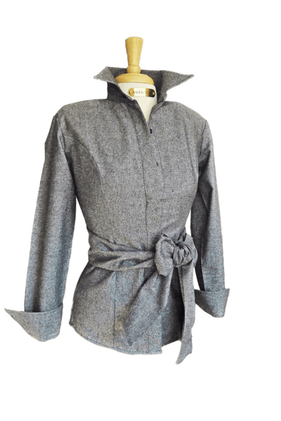 HOLIDAY SPARKLE SHIRT WITH SASH IN SMOKE