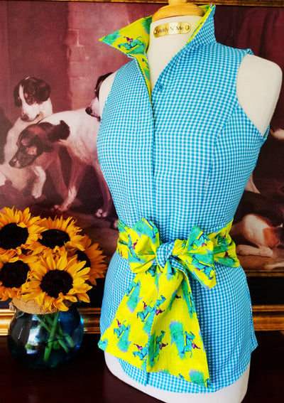 LEDYARD SHIRT IN TURQUOISE WITH SASH