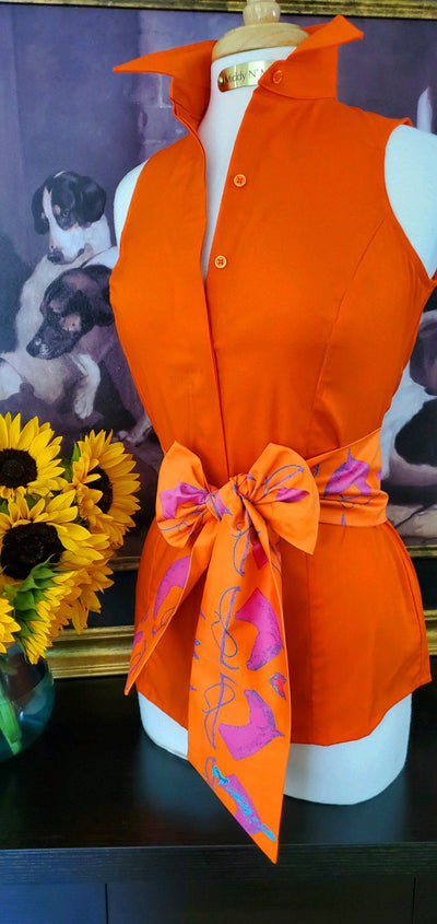 SUMMER RIDE SHIRT IN TANGERINE WITH MILLBROOK SASH