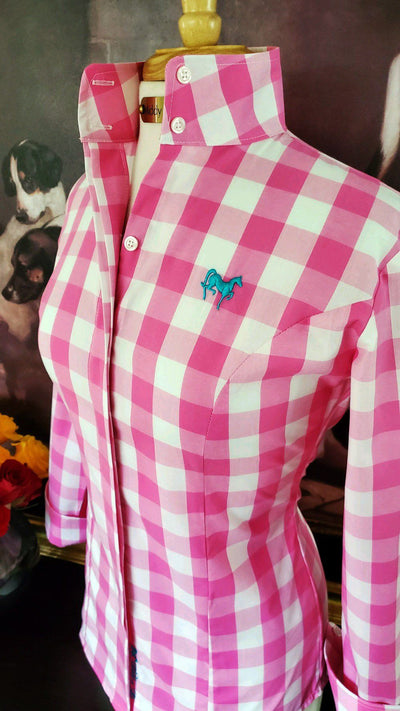 Ladies pink gingham shirt