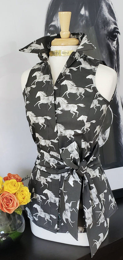 WILD & FREE SHIRT WITH SASH IN CHARCOAL