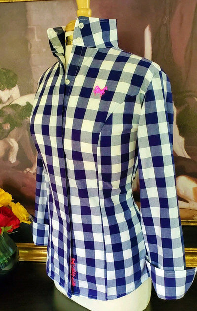 Ladies navy gingham shirt