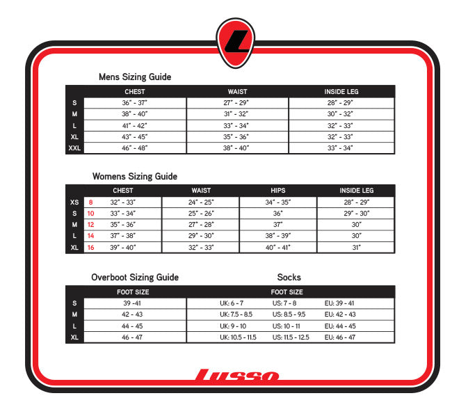 Lusso Clothing Size Guide