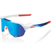 100% Cycle Clothing > Sunglasses 100% S2 Sunglasses Matte White / Geo Print HiPER Blue Mirror Lens