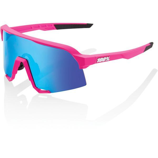 100% Cycle Clothing > Sunglasses 100% S3 - Matt Pink - HiPER Blue Multilayer Mirror Lens