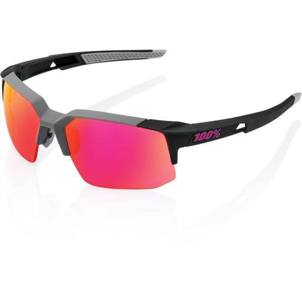 100% Cycle Clothing > Sunglasses 100% Speedcoupe - Soft Tact Graphite - Purple Mirror Lens