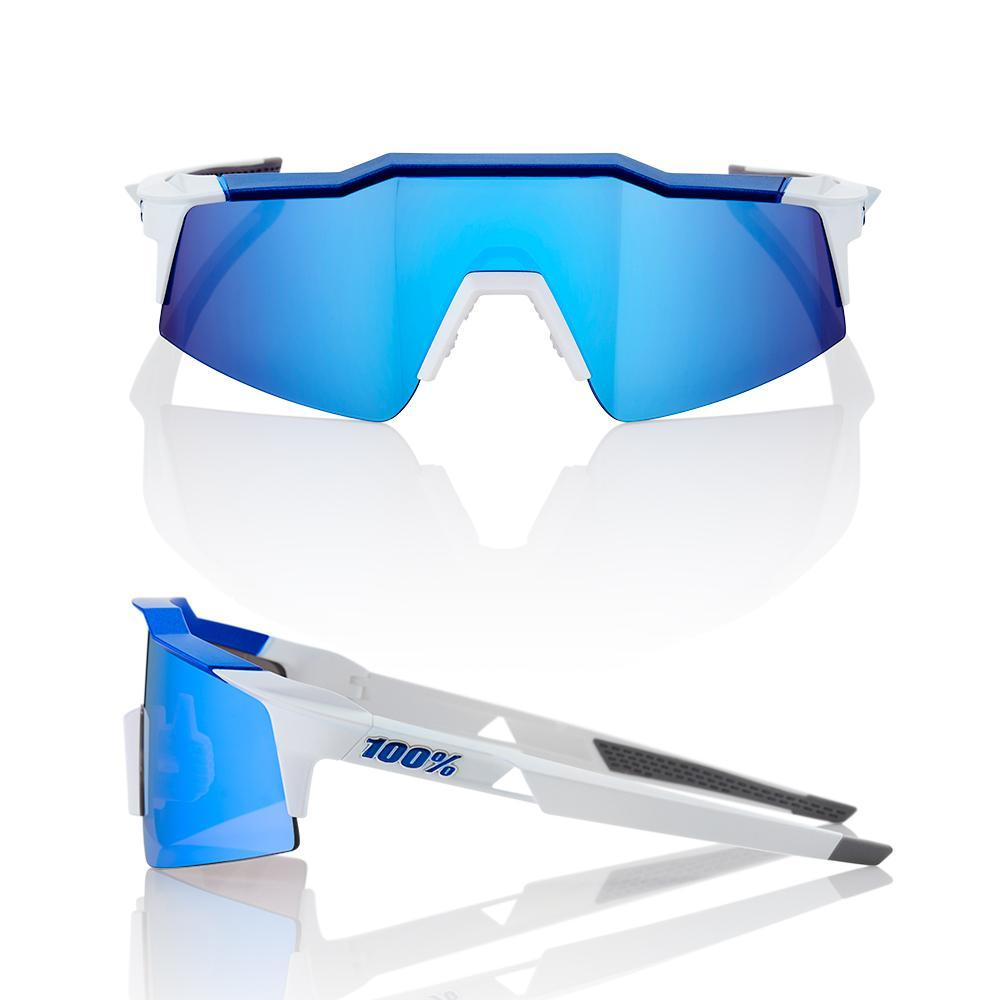100% Cycle Clothing > Sunglasses 100% Speedcraft SL Sunglasses Matt White/Metallic Blue HiPER Blue Mirror Lens