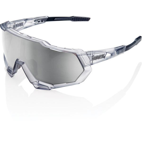 100% Cycle Clothing > Sunglasses 100% Speedtrap - Matte Translucent Crystal Grey - HiPER Silver Mirror Lens