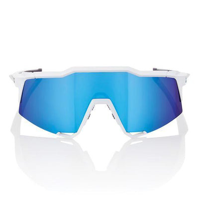 100% Cycle Clothing > Sunglasses 100% Speedtrap Sunglasses Matte White HiPER Blue Mirror Lens