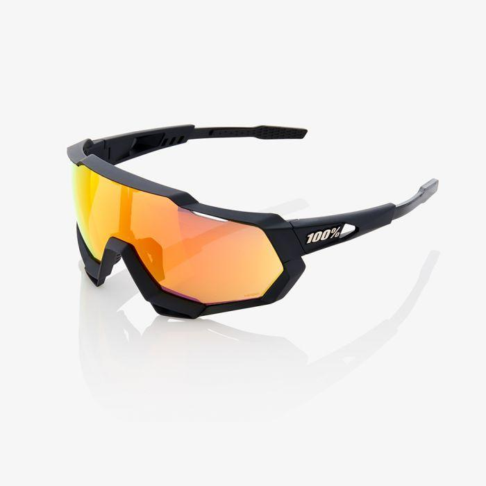 100% Cycle Clothing > Sunglasses 100% Speedtrap Sunglasses Soft Tact Black HiPER Red Mirror