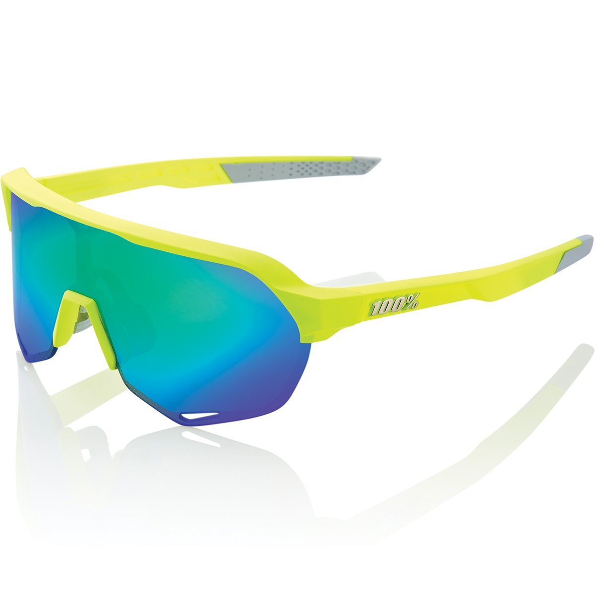 100% Cycle Clothing > Sunglasses S2 Matt Fluorescent Yellow Green Mirror Lens Sunglasses