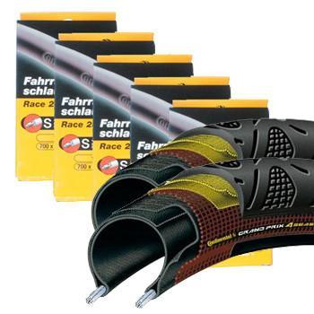 Continental Components > Tyres & Tubulars Continental GP 4 Season Folding Tyres & Innertubes Bundle