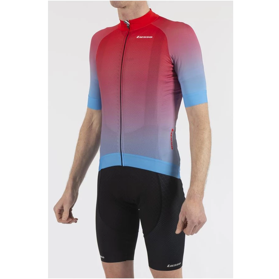 Lusso Cycle Clothing > Jersey & Jackets LUSSO FADE BLUE RED SHORT SLEEVE JERSEY