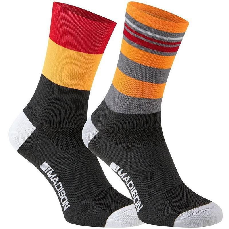 Madison Cycle Clothing > Socks 43-45 Madison Sportive 2 Pack flame red / Shocking orange Long sock