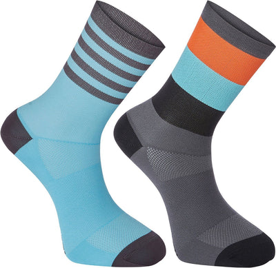 Madison Cycle Clothing > Socks dark shadow / blue large / S 36/39 Madison Sportive mid sock, block and stripe twin pack.