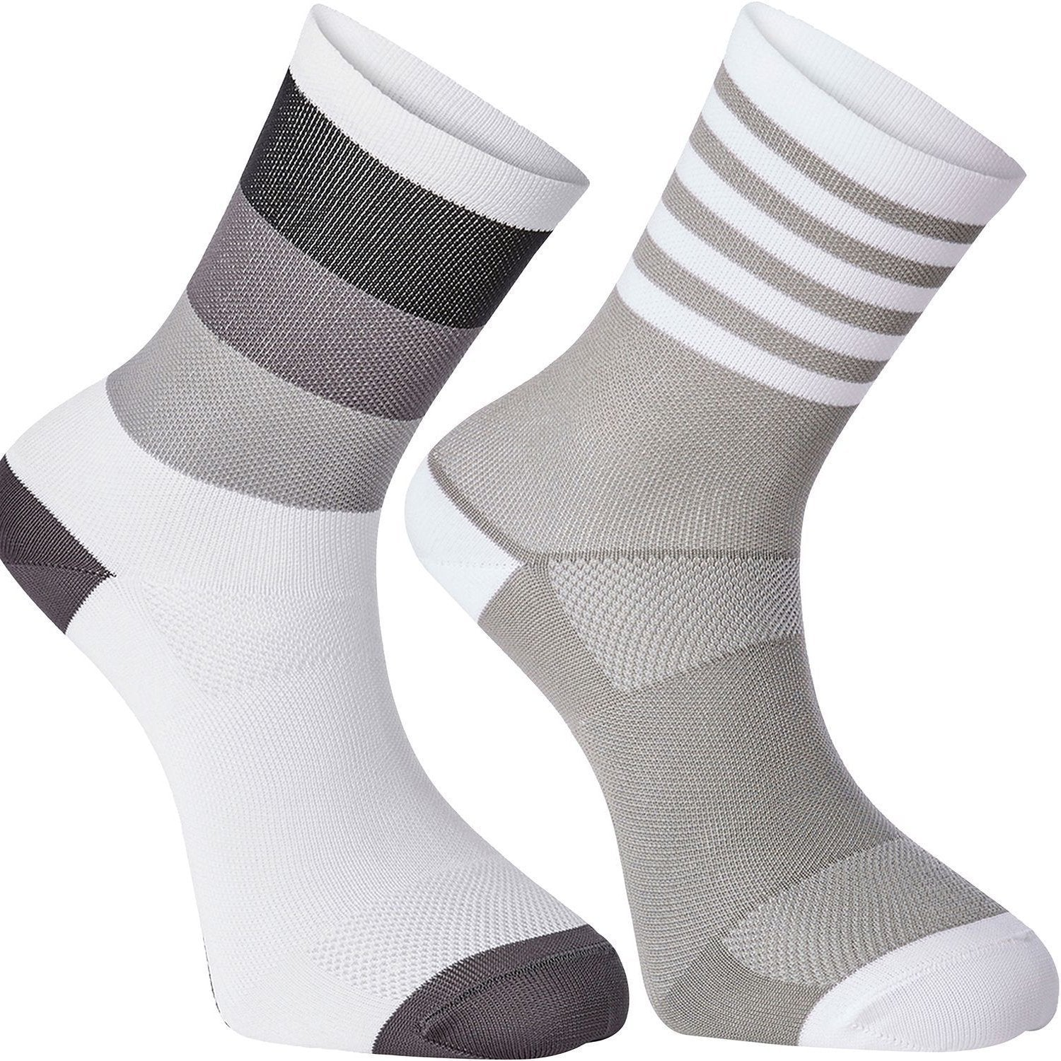 Madison Cycle Clothing > Socks white / cloud grey / S 36/39 Madison Sportive mid sock, block and stripe twin pack.