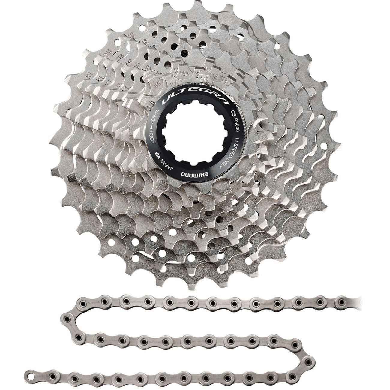 Shimano Components > Cassettes & Cables Shimano Ultegra R8000 Cassette 11-28 & KMC X11.93 OEM Chain