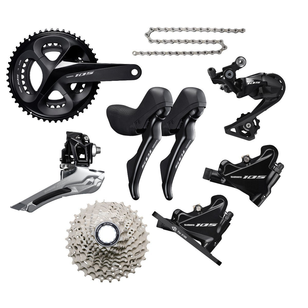 Shimano Components > Groupsets Shimano 105 R7020 Disc Groupset Black