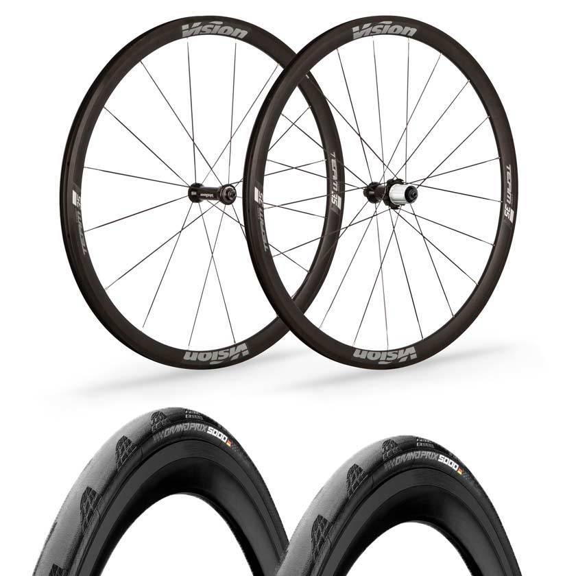 Vision wheels Vision Team 35 Comp Road Clincher Wheels Continental GP5000 Tyre & Tube Bundle