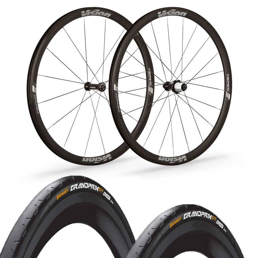 Vision wheels Vision Team 35 Comp Road Clincher Wheels Continental Grand Prix GT Black Tyre & Tube Bundle