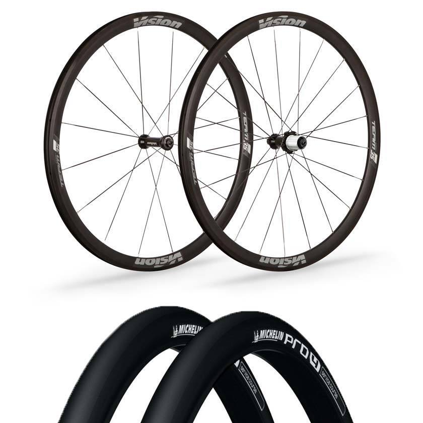 Vision wheels Vision Team 35 Comp Road Clincher Wheels Michelin Pro 4 V2 Black Tyre & Tube Bundle