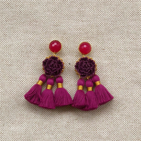 TRIPLE TASSEL {magenta mix}