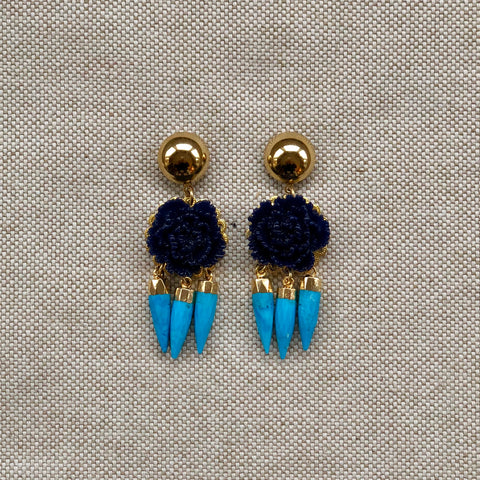 TRIPLE SPIKE {navy+turquoise}