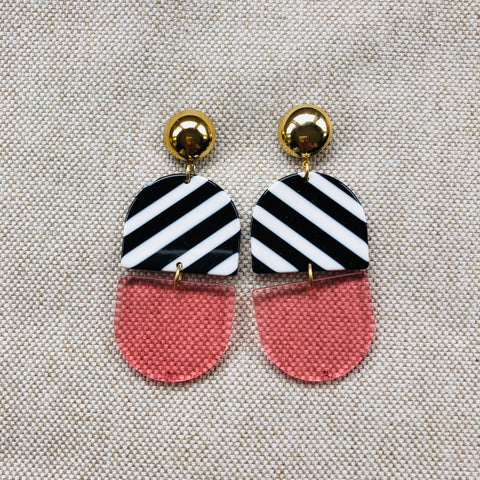 STRIPED HALF MOON {black+white+pink}