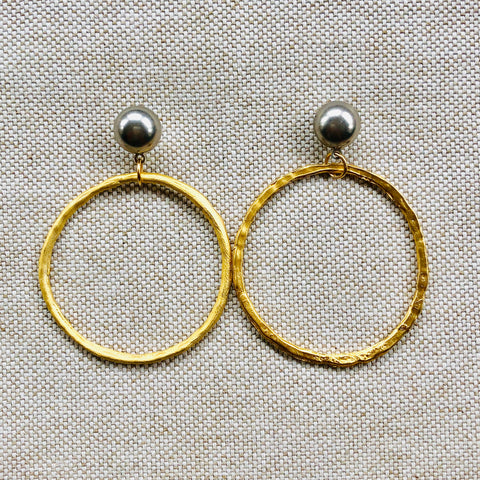 MIXED HOOP {gold+silver}