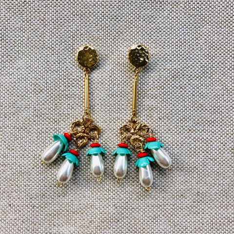 TRIPLE DANGLE {red + turquoise}